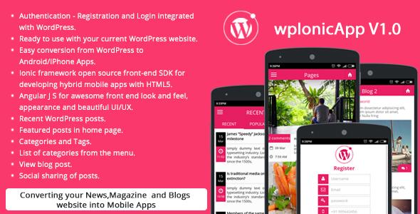 دانلود سورس کد codecanyon – Ionic WordPress RESTAPI (wpIonicApp V1.0) – News / Magazine / Blogs